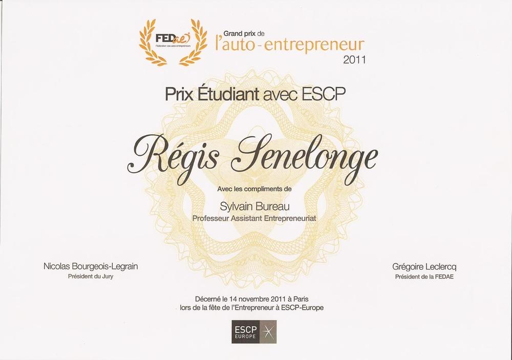 Prix étudiant - ESCP Europe - FEDae - 2011
