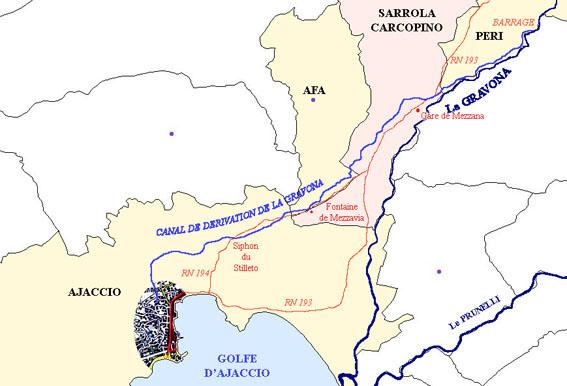 tracé du canal de la gravona, ajaccio