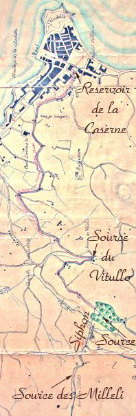 plan de l'adduction des eaux de sources vers le réservoir de la caserne de Vaux en 1852, ajaccio