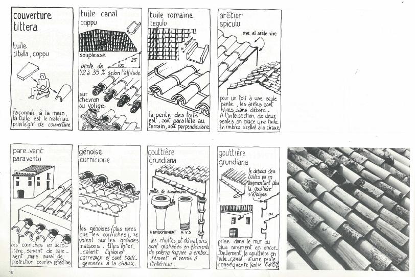 couverture toiture, architecture corse, maison, immeuble