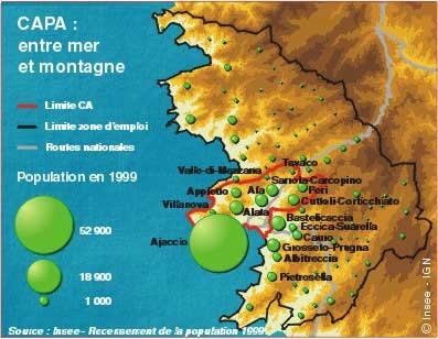 CAPA POPULATION, VILLAGE, CORSE, VILLE