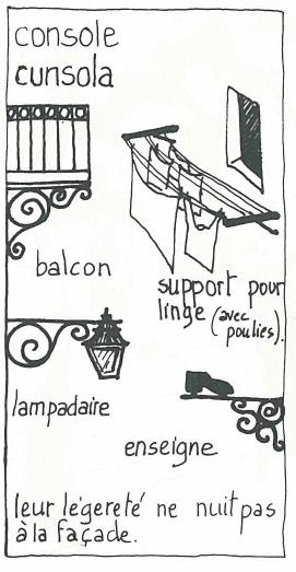console, balcon, croquis, corse