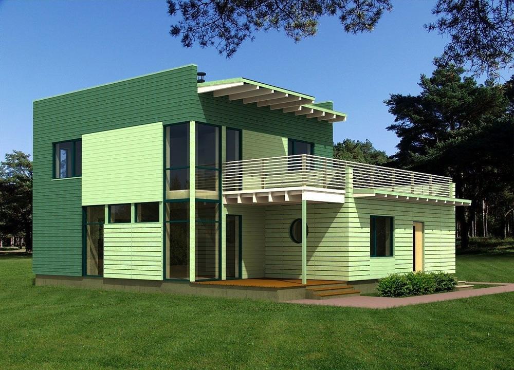 Maison contemporaine en bois for Prix m2 maison ossature bois contemporaine