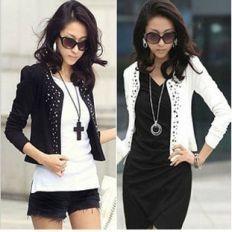 O women s rivet slim waistcoat long sleeve short coat 1b96