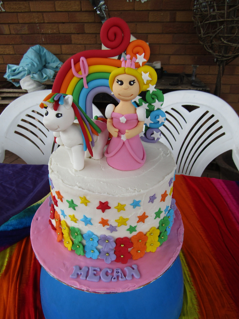 Rainbow Unicorn Princess Cake