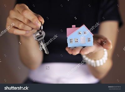 Stock photo hand house agent 464079818