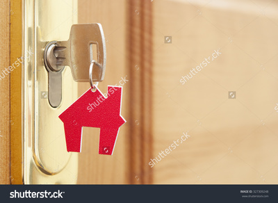 Stock photo symbol of the house and stick the key in the keyhole 327309248