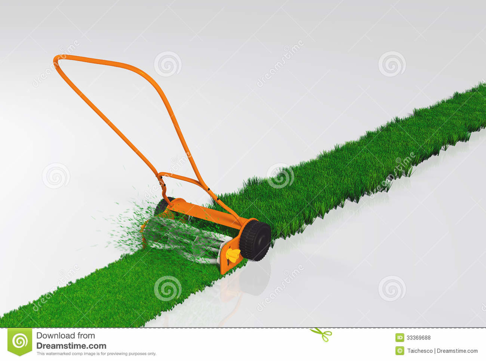 push-lawn-mower-working-orange-cutting-grass-along-straight-strip-green-white-background-33369688