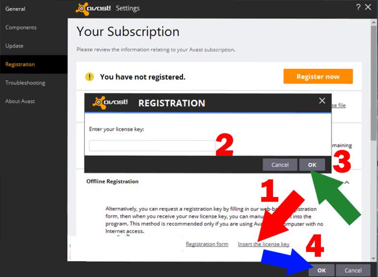 avast registration key for 1 year