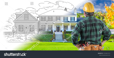 Stock photo male contractor with hard hat and tool belt looking at custom house drawing photo combination on 1014561313